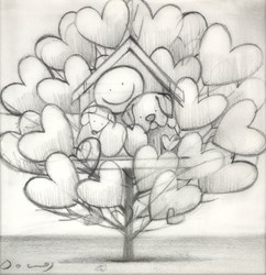 Family Tree III (study) by Doug Hyde - Original Drawing on Mounted Paper sized 6x6 inches. Available from Whitewall Galleries