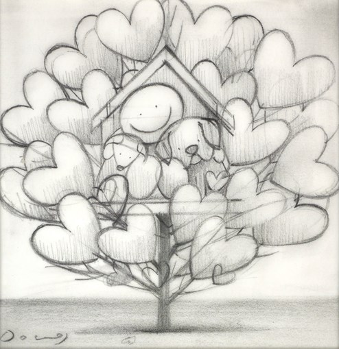 Family Tree III (study) by Doug Hyde - Original Drawing on Mounted Paper
